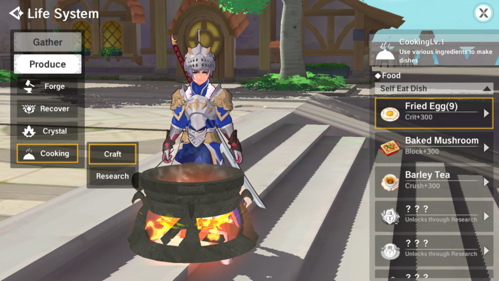 cooking system, the legend of neverland